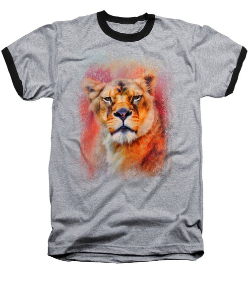 Colorful Expressions Lioness Baseball T-Shirt by Jai Johnson