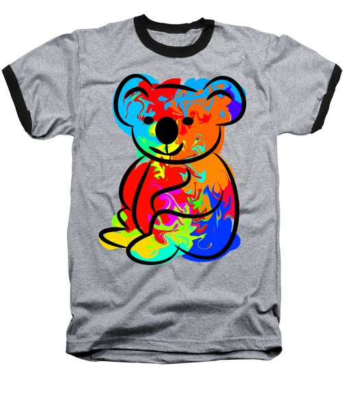 Colorful Koala Baseball T-Shirt by Chris Butler