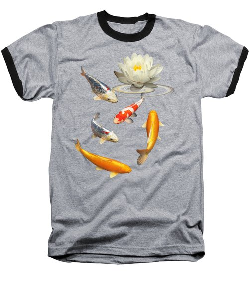 Colorful Koi With Water Lily Baseball T-Shirt by Gill Billington
