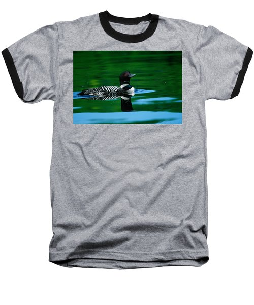 Common Loon In Water, Michigan, Usa Baseball T-Shirt by Panoramic Images