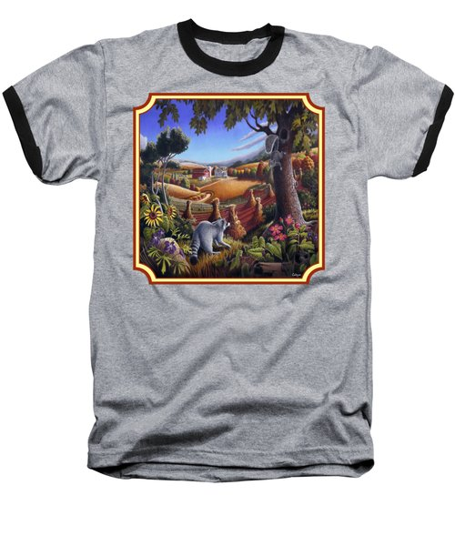 Coon Gap Holler Country Landscape - Square Format Baseball T-Shirt by Walt Curlee