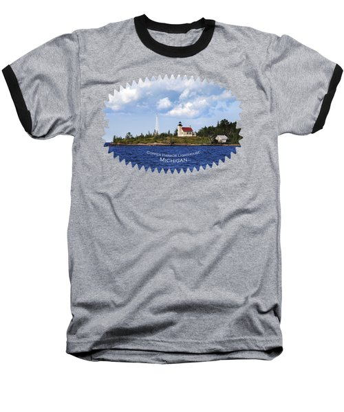 Copper Harbor Lighthouse Baseball T-Shirt by Christina Rollo