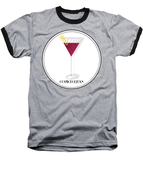 Cosmopolitan Cocktail Pop Art Deco  Baseball T-Shirt by Cecely Bloom