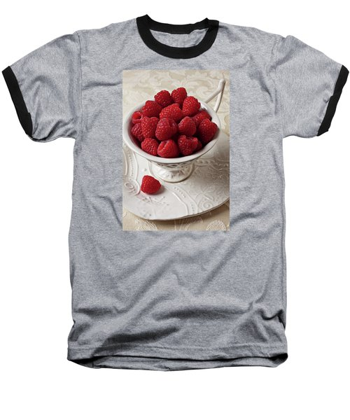 Cup Full Of Raspberries  Baseball T-Shirt by Garry Gay