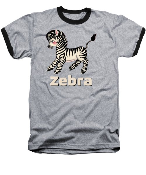 Cute Baby Zebra Pattern Vintage Book Illustration Pattern Baseball T-Shirt by Tina Lavoie