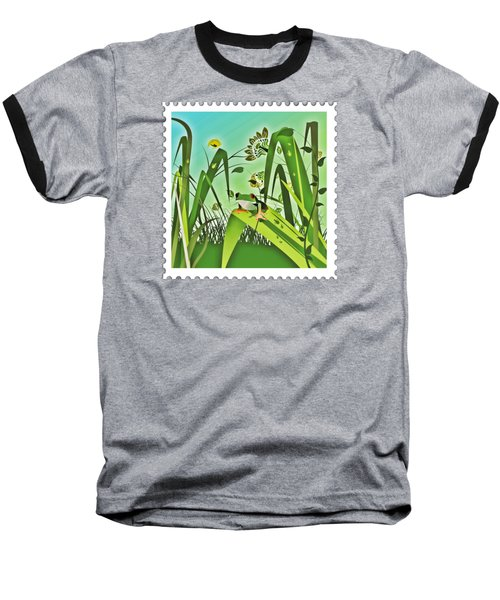 Cute Frog Camouflaged In The Garden Jungle Baseball T-Shirt by Elaine Plesser