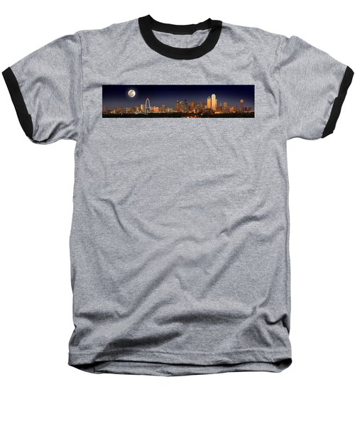 Dallas Skyline At Dusk Big Moon Night  Baseball T-Shirt by Jon Holiday