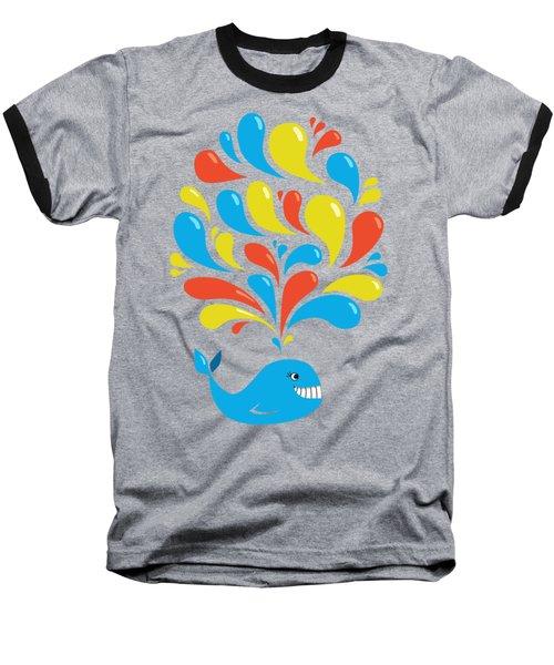 Dark Colorful Splash Happy Cartoon Whale Baseball T-Shirt by Boriana Giormova