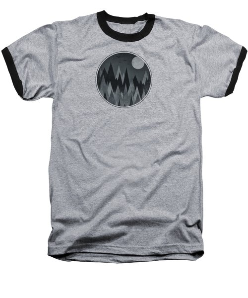 Dark Mystery Abstract Geometric Triangle Peak Woods Black And White Baseball T-Shirt by Philipp Rietz