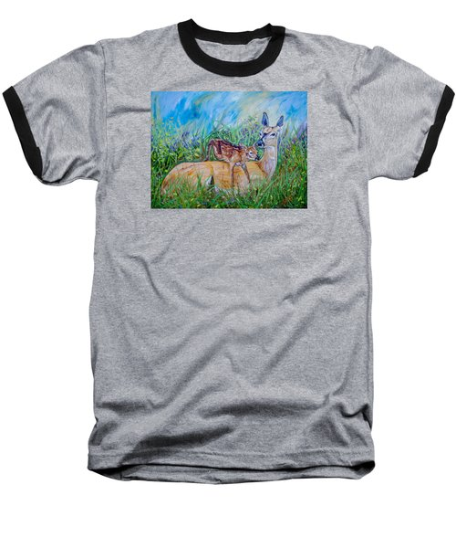 Deer Mom And Babe 24x18x1 Oil On Gallery Canvas Baseball T-Shirt by Manuel Lopez