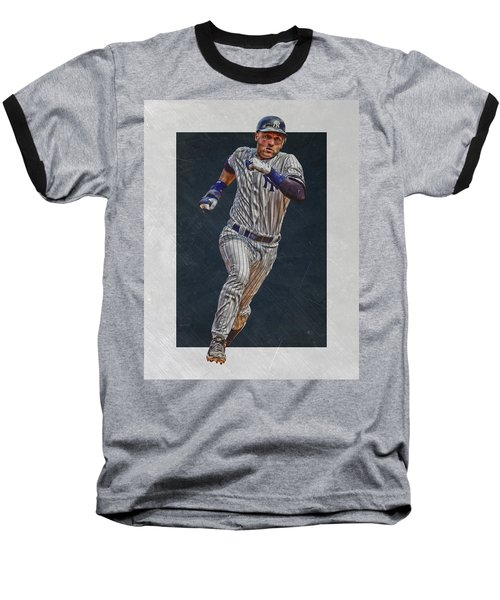Derek Jeter New York Yankees Art 3 Baseball T-Shirt by Joe Hamilton