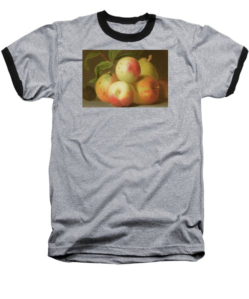 Detail Of Apples On A Shelf Baseball T-Shirt by Jakob Bogdany