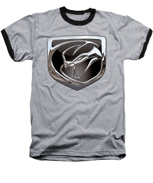 Dodge Viper - 3d Badge On Black Baseball T-Shirt by Serge Averbukh