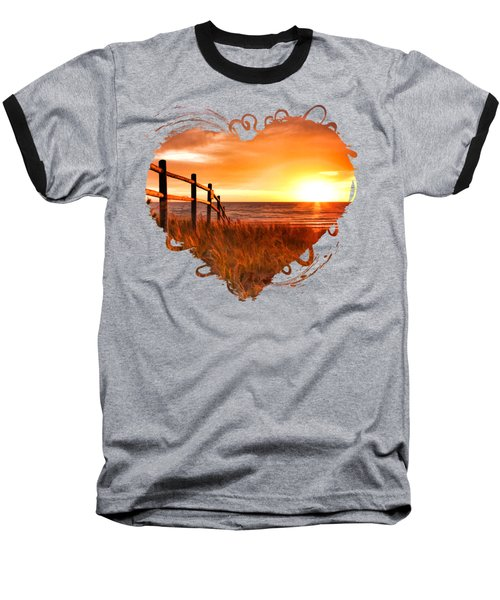 Door County Europe Bay Fence Sunrise Baseball T-Shirt by Christopher Arndt