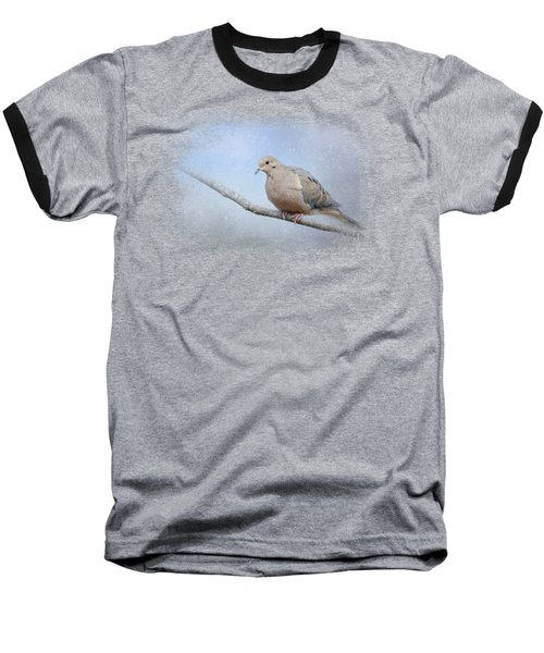 Dove In The Snow Baseball T-Shirt by Jai Johnson