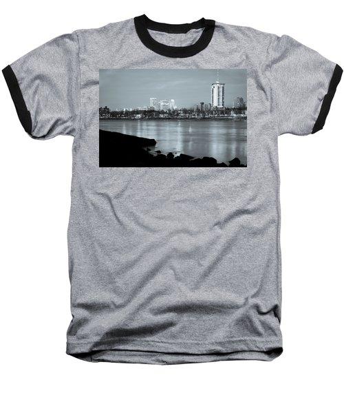 Downtown Tulsa Oklahoma - University Tower View - Black And White Baseball T-Shirt by Gregory Ballos