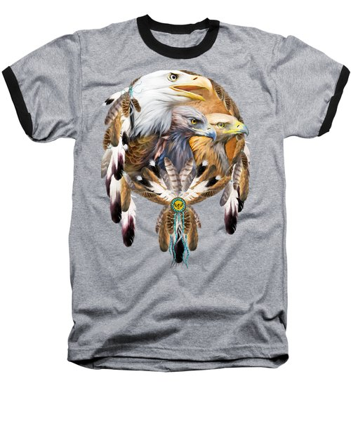 Dream Catcher - Three Eagles Baseball T-Shirt by Carol Cavalaris