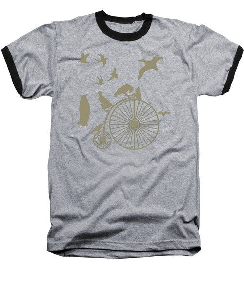 Dude The Birds Are Flocking Tan Transparent Background Baseball T-Shirt by Barbara St Jean