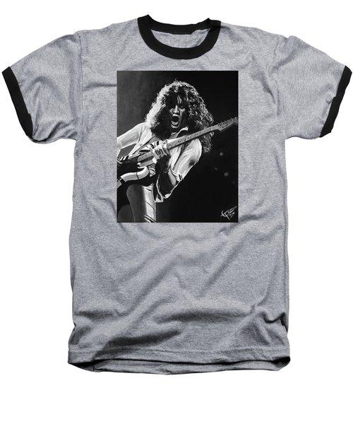 Eddie Van Halen - Black And White Baseball T-Shirt by Tom Carlton