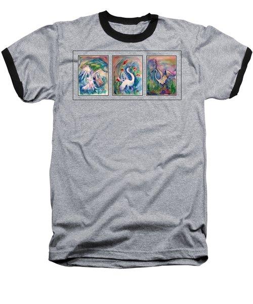 Egret Series Baseball T-Shirt by Robin Monroe