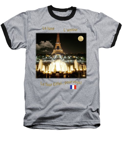 Eiffel Tower At Night Baseball T-Shirt by Jon Delorme