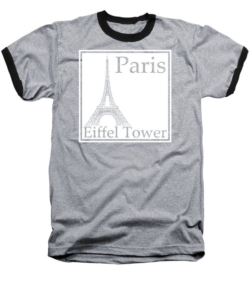 Eiffel Tower In White Baseball T-Shirt by Custom Home Fashions