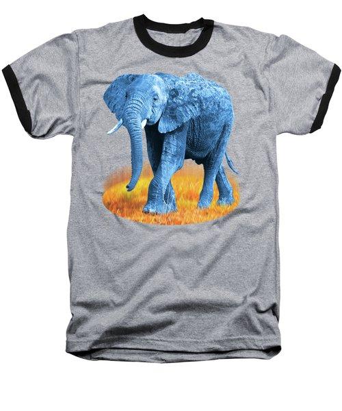 Elephant - World On Fire Baseball T-Shirt by Gill Billington