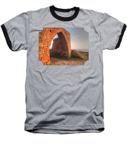 Evening Light On Grosnez Castle Ruins Jersey Baseball T-Shirt by Gill Billington