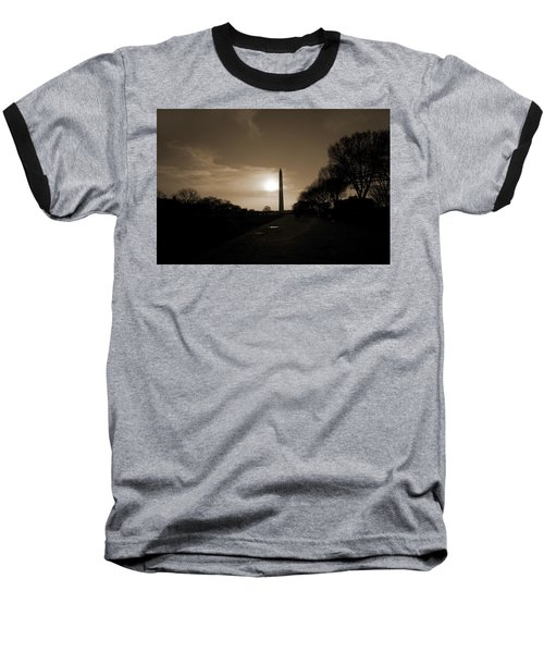 Evening Washington Monument Silhouette Baseball T-Shirt by Betsy Knapp