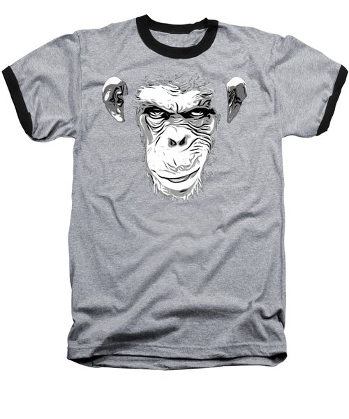 Evil Monkey Baseball T-Shirt by Nicklas Gustafsson