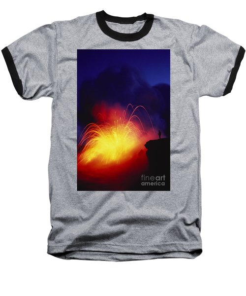 Exploding Lava And Person Baseball T-Shirt by Greg Vaughn - Printscapes