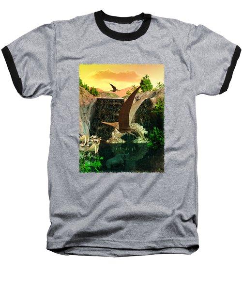 Fantasy Worlds 3d Dinosaur 2 Baseball T-Shirt by Sharon and Renee Lozen