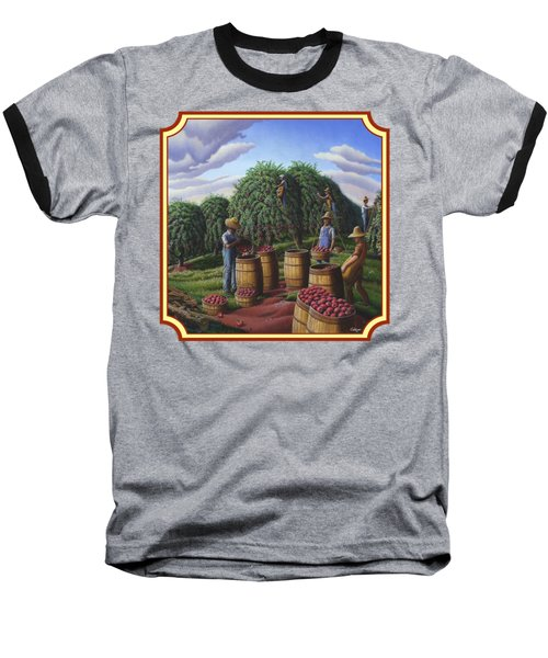 Farm Americana - Autumn Apple Harvest Country Landscape - Square Format Baseball T-Shirt by Walt Curlee