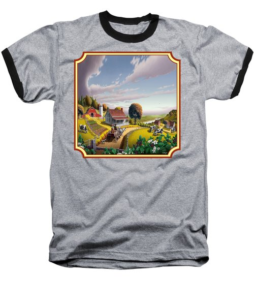Farm Americana - Farm Decor - Appalachian Blackberry Patch - Square Format - Folk Art Baseball T-Shirt by Walt Curlee