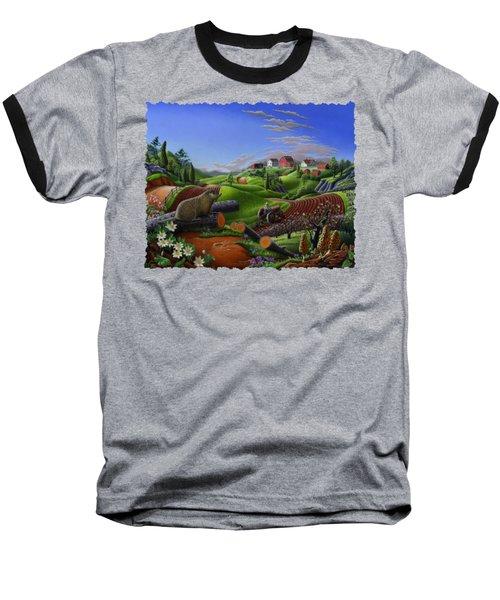 Farm Folk Art - Groundhog Spring Appalachia Landscape - Rural Country Americana - Woodchuck Baseball T-Shirt by Walt Curlee