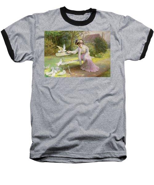Feeding The Doves  Baseball T-Shirt by Edmond Alphonse Defonte