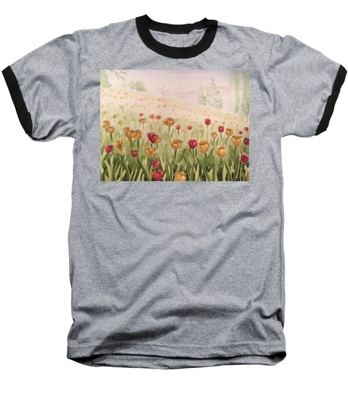Field Of Tulips Baseball T-Shirt by Kayla Jimenez