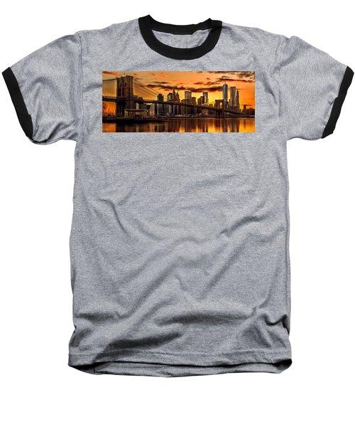 Fiery Sunset Over Manhattan  Baseball T-Shirt by Az Jackson