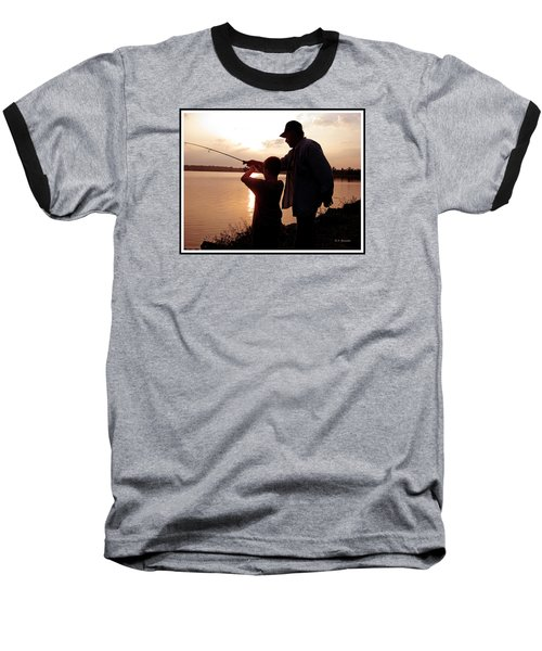 Baseball T-Shirt featuring the photograph Fishing At Sunset Grandfather And Grandson by A Gurmankin