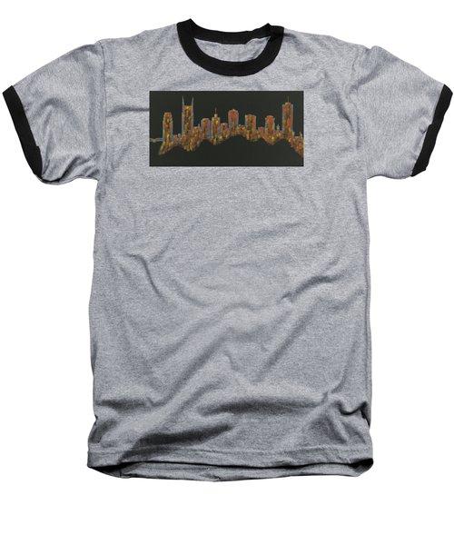 Floating Nashville Skyline Bl Baseball T-Shirt by Helen Prater