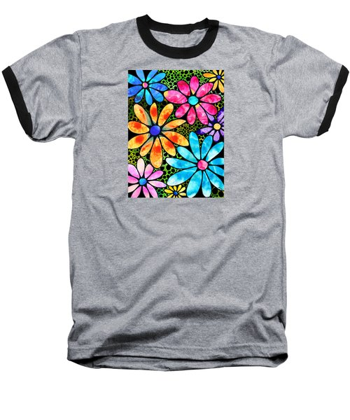 Floral Art - Big Flower Love - Sharon Cummings Baseball T-Shirt by Sharon Cummings