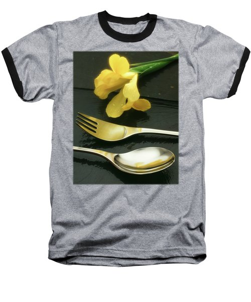 Flowers On Slate Baseball T-Shirt by Jon Delorme
