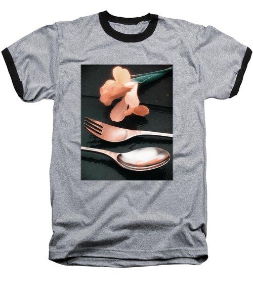 Flowers On Slate Variation 4 Baseball T-Shirt by Jon Delorme