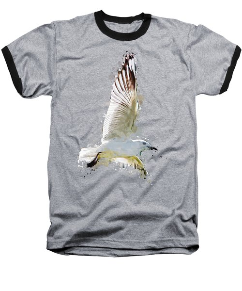 Flying Seagull Abstract Sky Baseball T-Shirt by Elaine Plesser