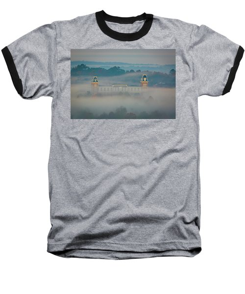 Fog At Old Main Baseball T-Shirt by Damon Shaw
