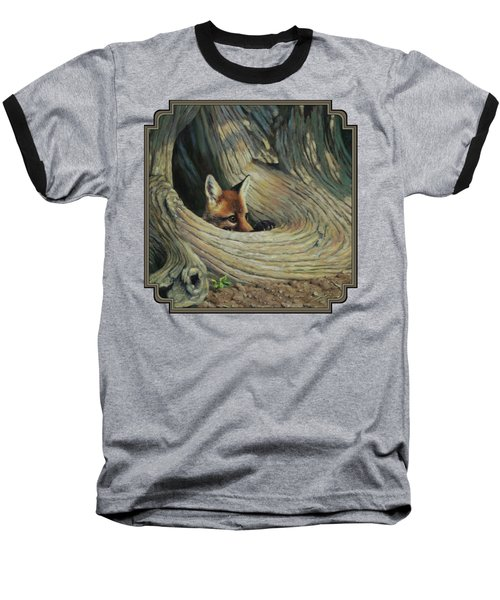 Fox - It's A Big World Out There Baseball T-Shirt by Crista Forest