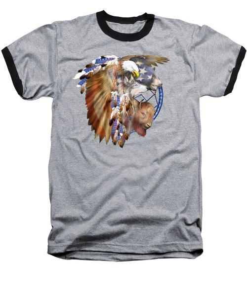 Freedom Lives Baseball T-Shirt by Carol Cavalaris