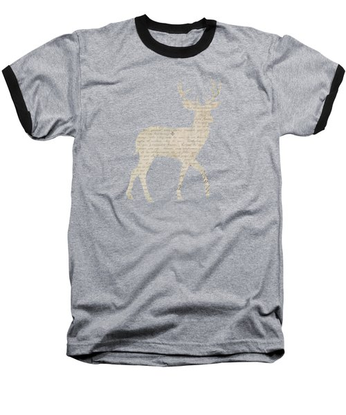 French Script Stag Baseball T-Shirt by Amanda Lakey
