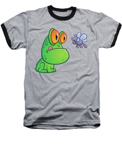 Frog And Dragonfly Baseball T-Shirt by John Schwegel