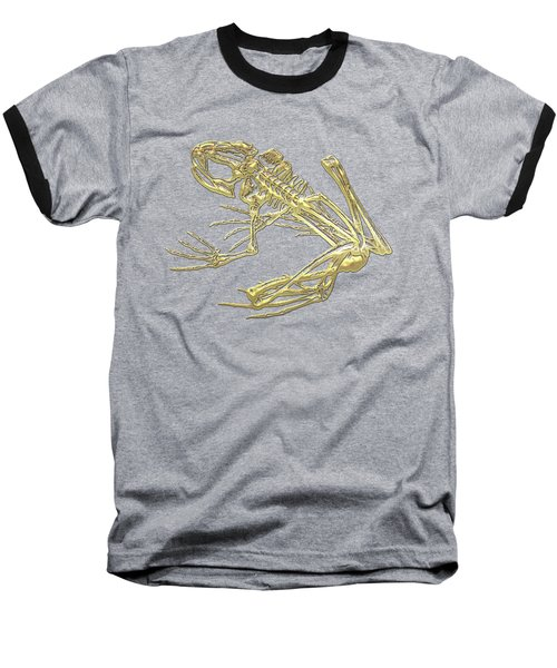 Frog Skeleton In Gold On Red  Baseball T-Shirt by Serge Averbukh